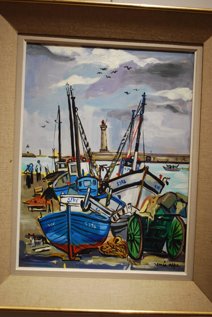 Huile Sur Toile bateaux de pêche  par Renée Aspe signé en bas à droite