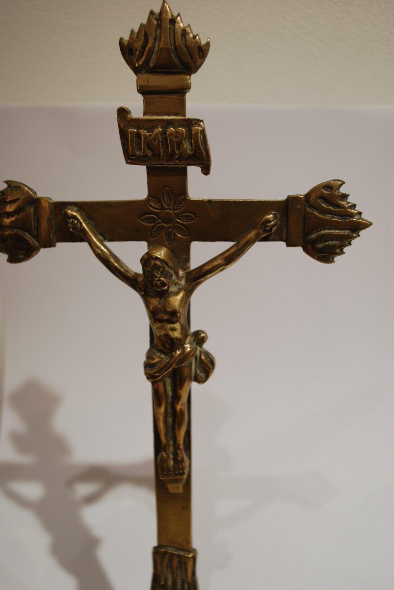 Crucifix En Bronze Dix Septième Siècle-photo-2