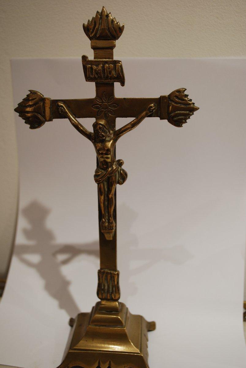 Crucifix En Bronze Dix Septième Siècle-photo-1