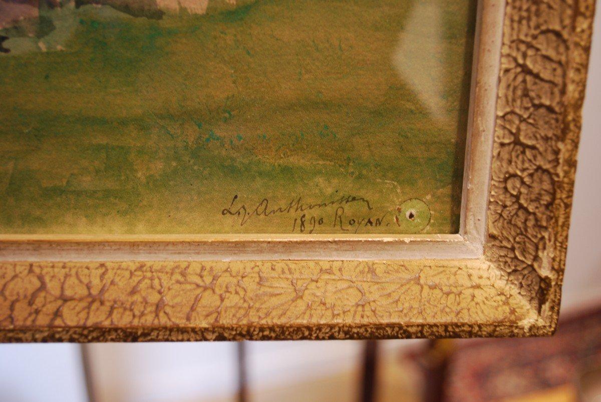 Aquarelle Datée De 1890 Par Anthonissen Louis Joseph Les Brodeuses-photo-2
