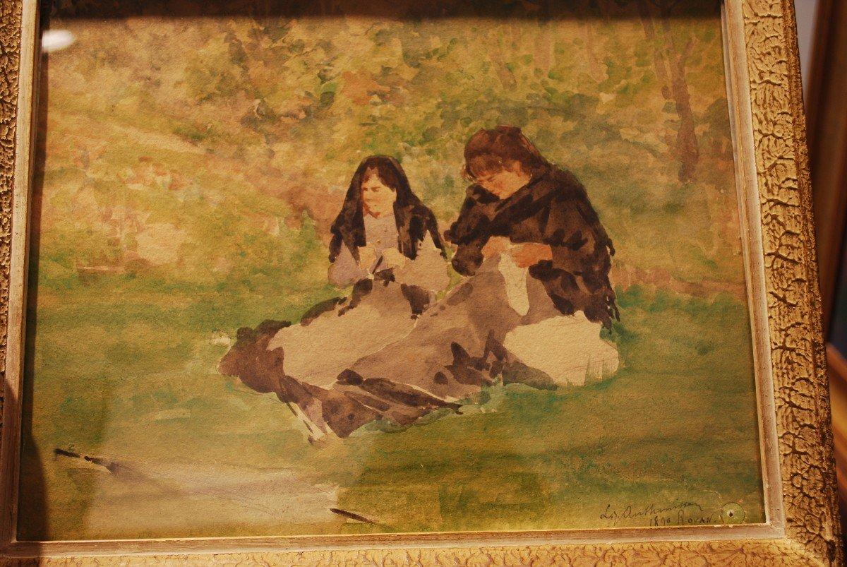 Aquarelle Datée De 1890 Par Anthonissen Louis Joseph Les Brodeuses