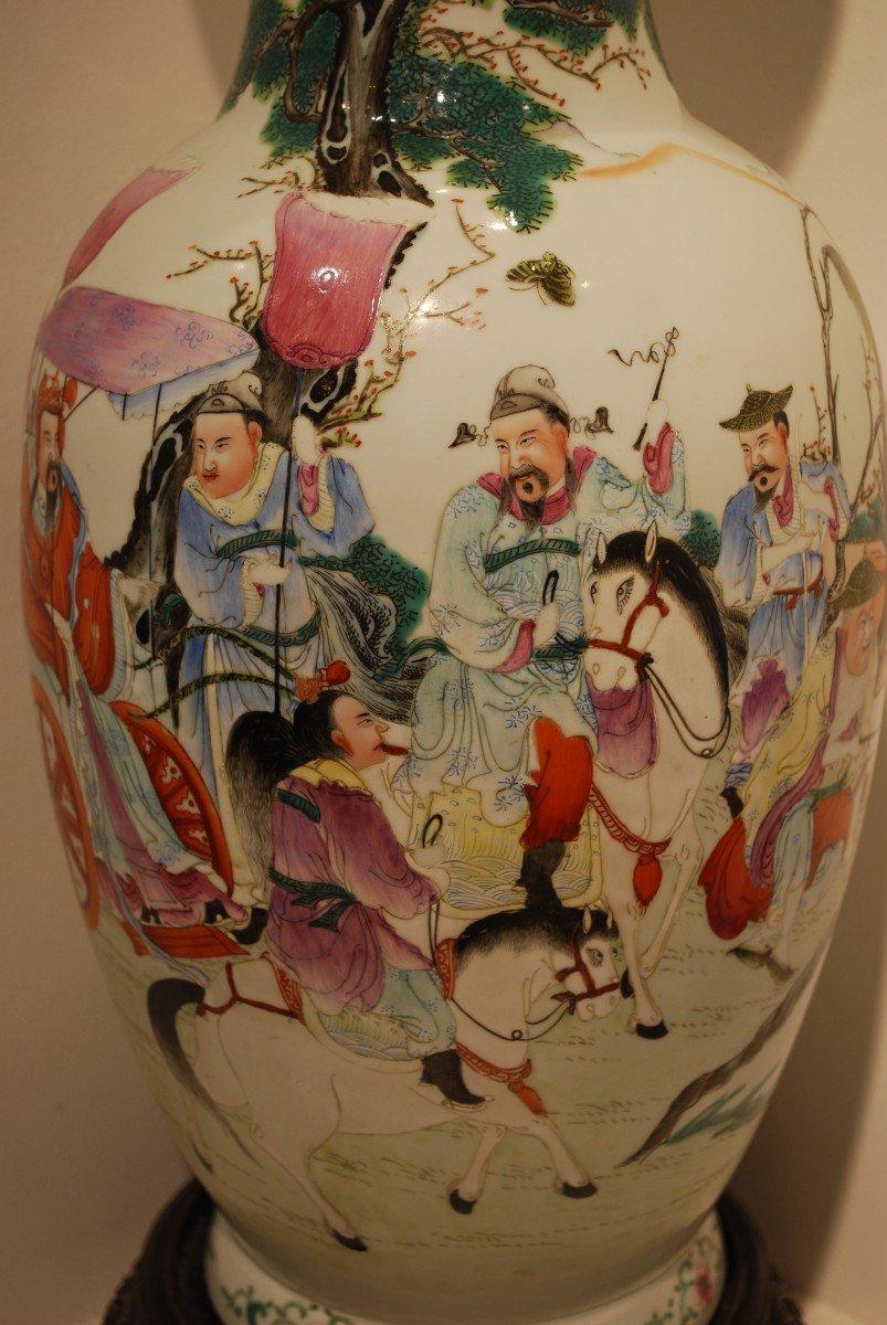 Vase Chine à Décor d'Empereur Et Dignitaires-photo-2