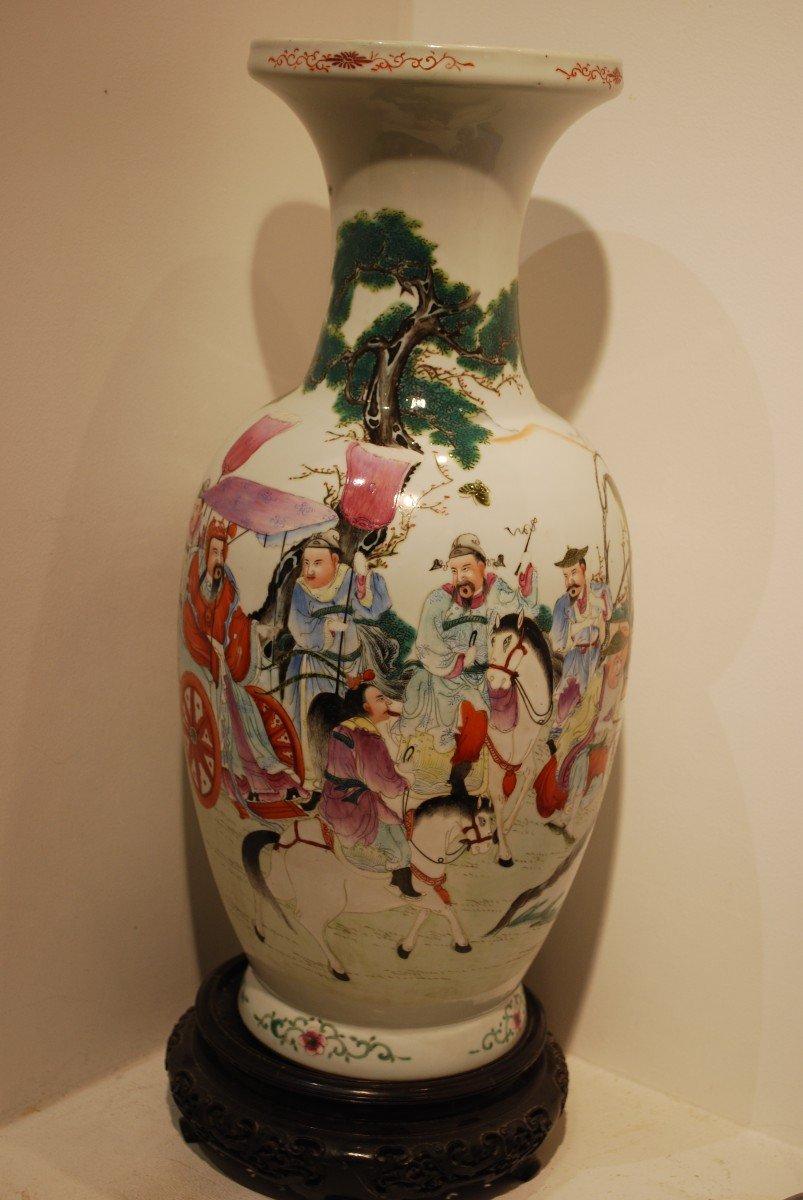 Vase Chine à Décor d'Empereur Et Dignitaires-photo-3