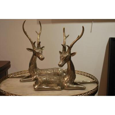 Pair Of Deer In Silver Bronze