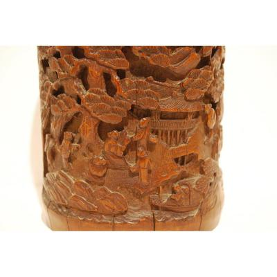 Carved Bamboo Brush Pot Decorated With Wise Men Walking In A Pine Forest