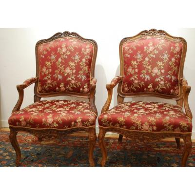 Pair Of Louis XV Armchairs In Walnut - Furniture