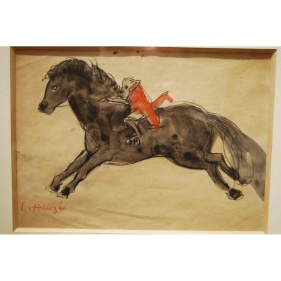 Watercolor By Edmond Heuzé Circus Pony In Médrano 1926