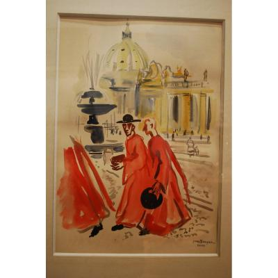 Gouache By Yves Brayer Signed Located Rome
