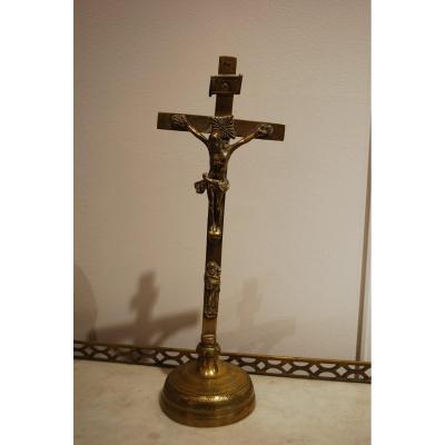 Crucifix En Bronze 17ème Siècle