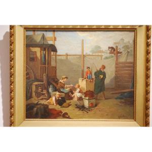 """Huile sur toile """"les singes savants"""" par Paul Salières"""