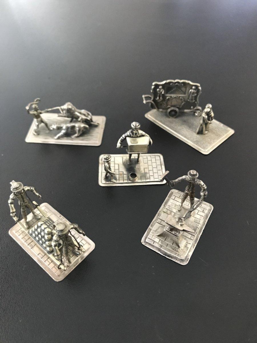 Set Of 5 Silver Miniature Scenes (3)