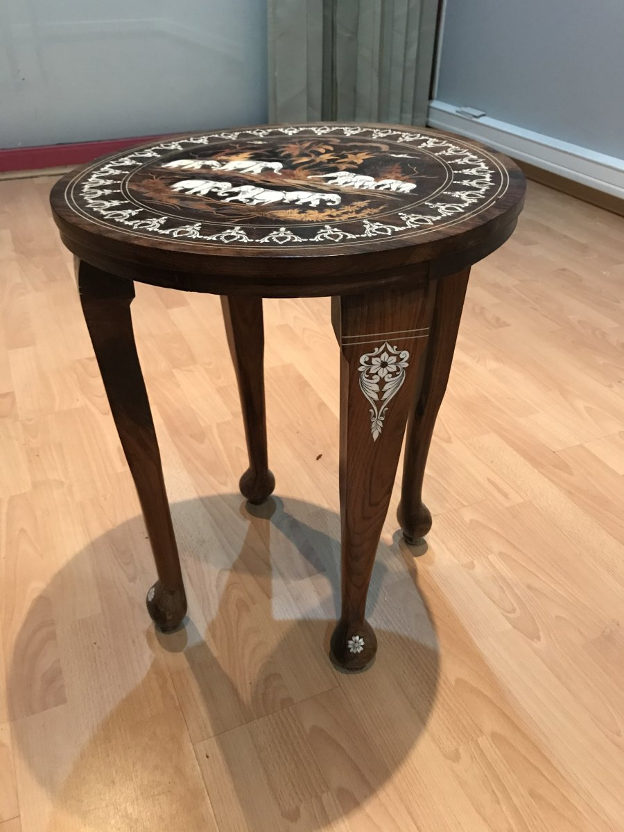 Coffee Table With Elephants, India Late 19th Century