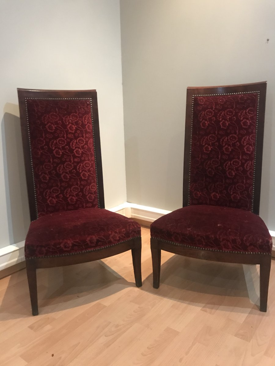 Pair Of Mahogany Fireside Chairs , Circa 1800