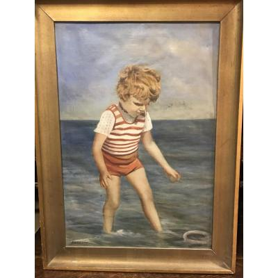 Child By The Beach By Hermann