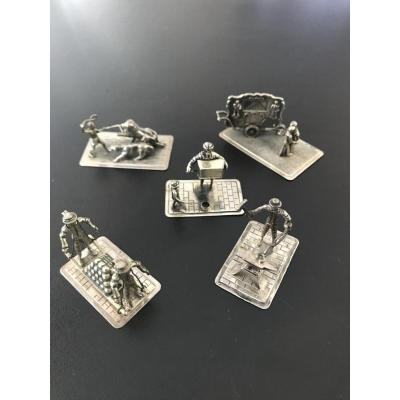 Set Of 5 Silver Miniature Scenes (3)