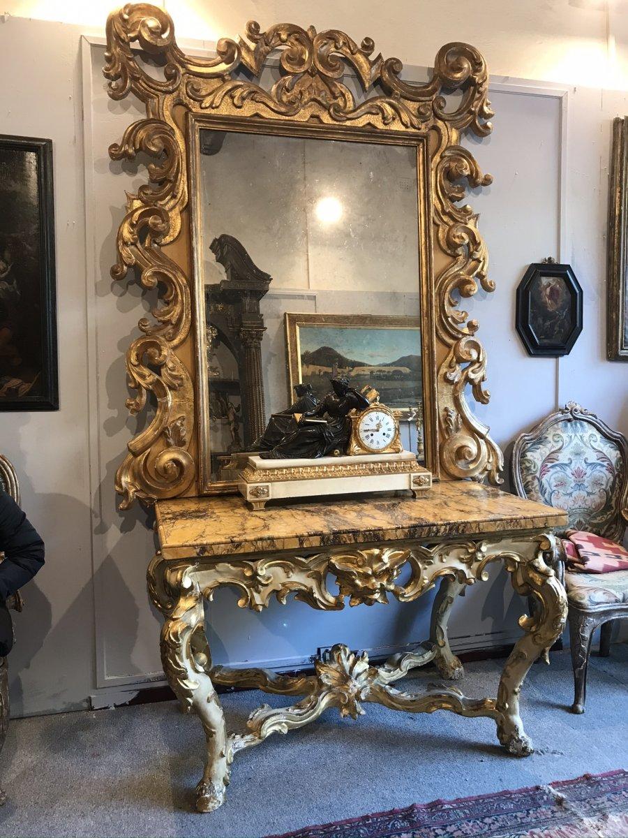 Console Et Miroir En Bois Dore Et Polychrome, Circa 1700. Italie