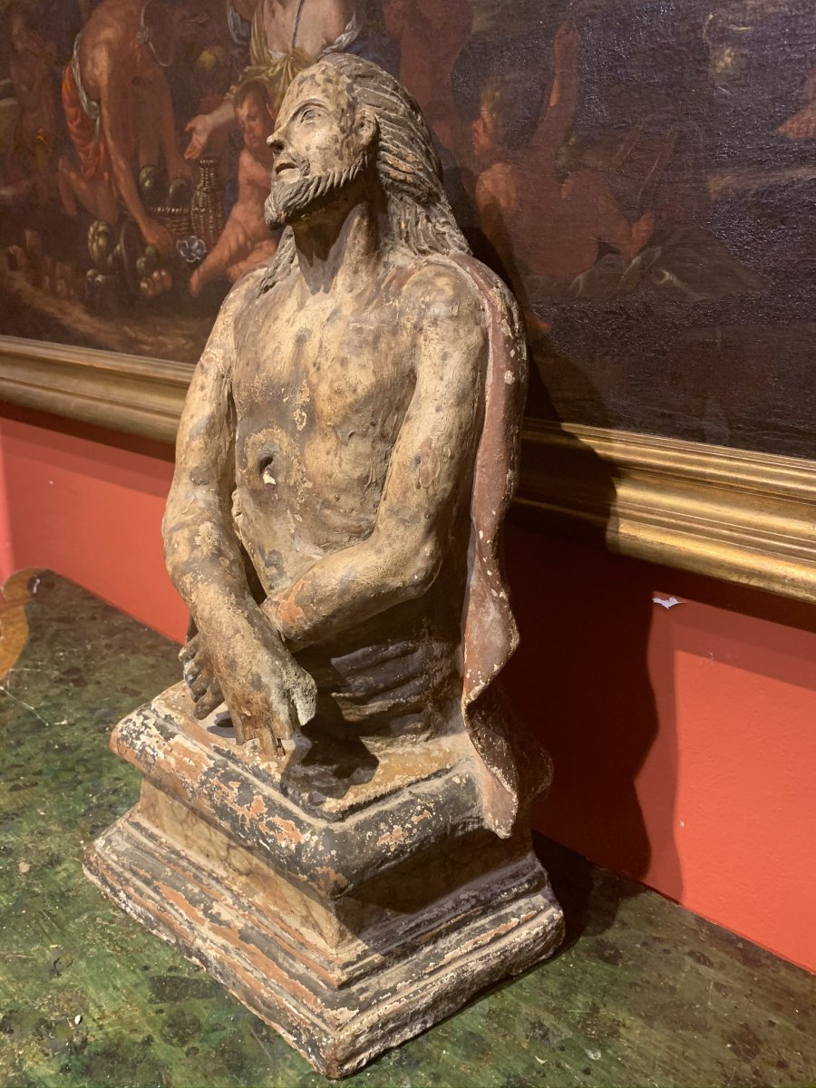 Polychrome Terracotta Sculpture Representing Christ, Italy 17th Century.