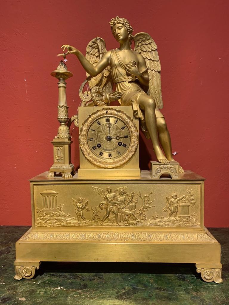 Horloge Bronze Dore Imper Avec Ange.