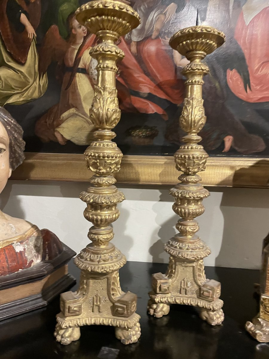Pair Of Gilded Wooden Candlesticks.