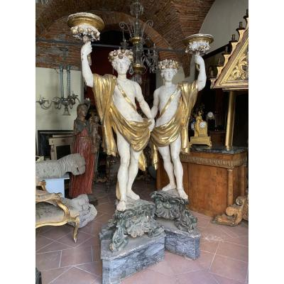 Two Sculptures In Lacquered And Gilded Wood. Toscana. Italy. Early 18 Century
