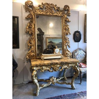Console And Mirror In Gilded And Polychrome Wood. Circa 1700. Italy