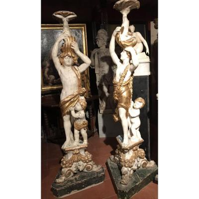A Pair Of Rare Baron Wood Sculptures. Italie. 1700 Circa