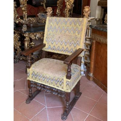 Tuscan Armchair With Original Bargello Fabric. Early XVII Century.
