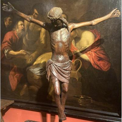 Grand Christ En Bois Sculpté Italien Du XVème.