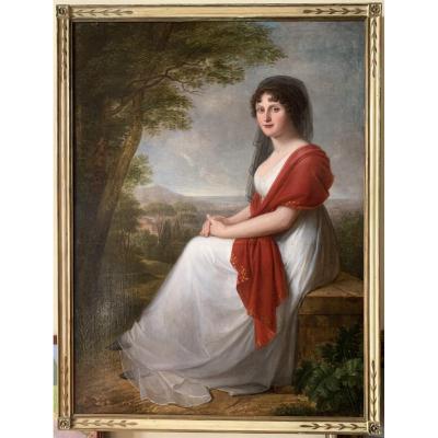 Portrait d'Une Jeune Femme Noble Dans La Campagne Toscane, Fin Du XVIIIe Siècle.