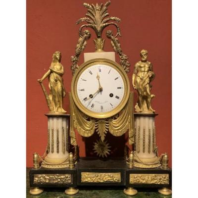 Louis XVI Clock With Hercules And Ophale, Signed B.simons In Paris.
