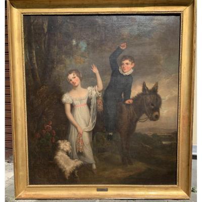 Grand Tableau Du Peintre Anglais Ramsay R. Reinagle (londres, 1775 - Chelsea, 1862)