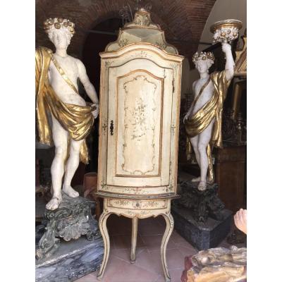 XVIIIsec Lacquered Venetian Corner Cabinet.