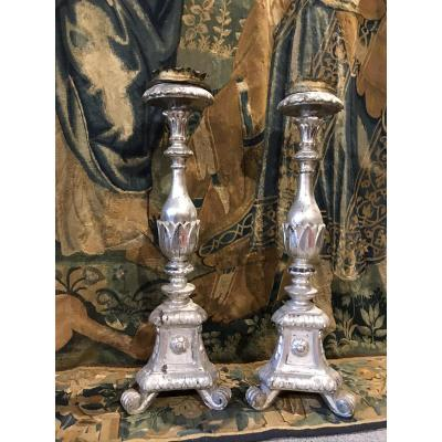 Pair Of Candlesticks XVIIIth Century.