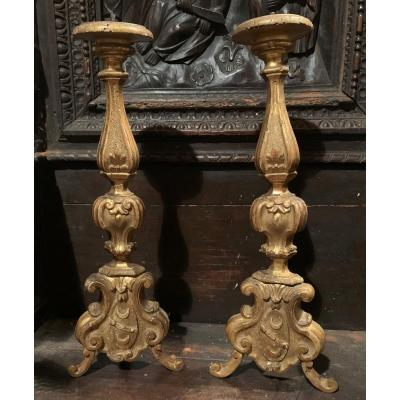 Two Candlesticks In Golden Wood. 18th Century. Toscana. Italy