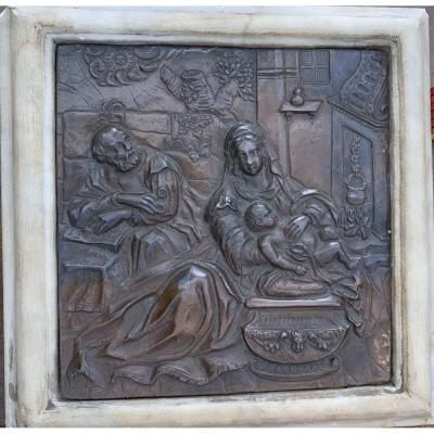 Embossed And Chiseled Copper Plate. End Of XVIth Century