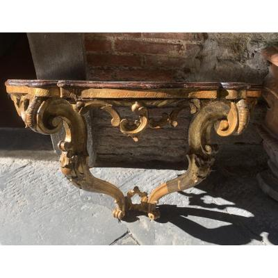 Louis XV Period Console In Golden Wood