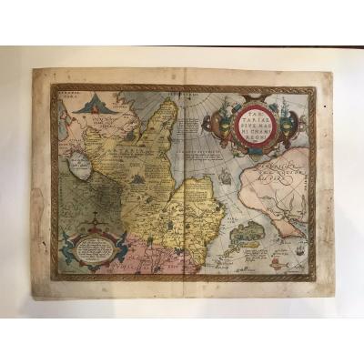 Carte Tartariae Sive Magni Chamiregni Édition De 1584 Ortelius Mesures: 54x40,5 Avec Une Colora