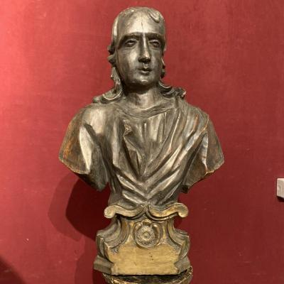 Bust In Silver Wood. XVIII Century