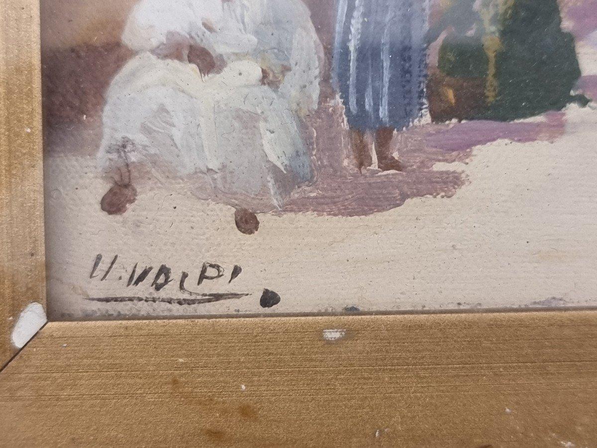 Paire d'Orientalistes Peints Sur Carton, époque '900-photo-2