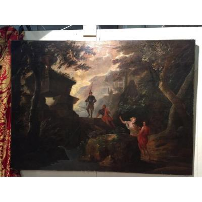 Landscape With Characters, Oil On Canvas, XVIIth Century
