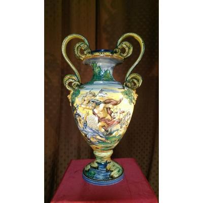 Grand Vase Peint Majolique