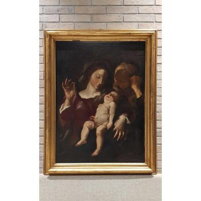 Sainte Famille, Huile Sur Toile, 17e Siècle