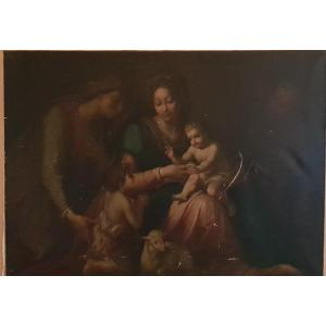 Holy Family With San Giovannino And Sant'anna - Oil On Canvas - Period '800