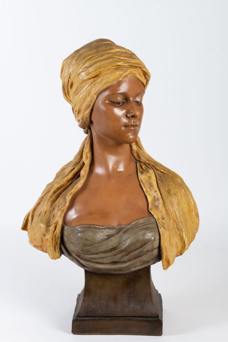 Goldscheider Buste Orientaliste  Femme Terre Cuite