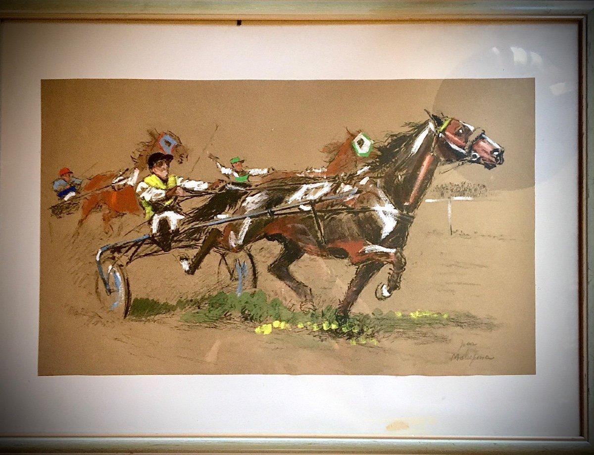 Course De Trot Attele Fusain De Couleurs Louis Malespina (1874 /1940)