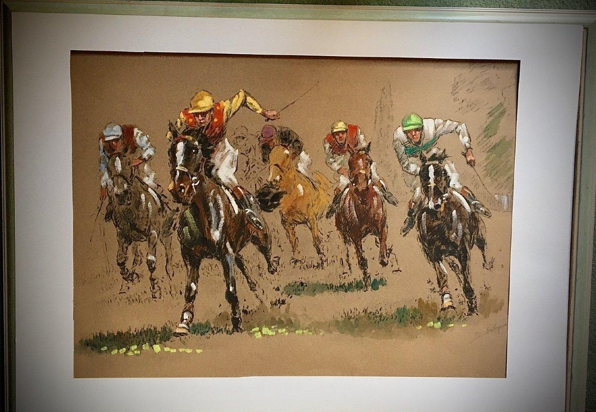 Course De Galop Fusain De Couleurs De Louis Malespina  ( 1874/1940 )