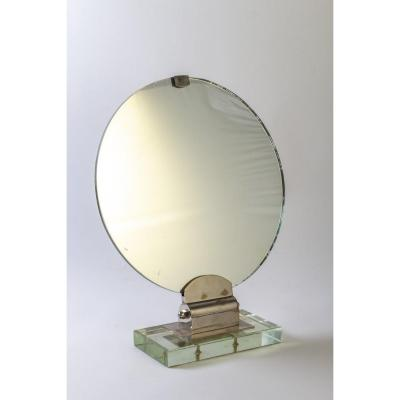 Mirror Attributed To Jacques Adnet With A Glass Base From Saint Gobain