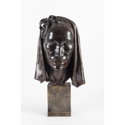 Buste Terre Cuite Femme Africaine De Jean Marie Falke