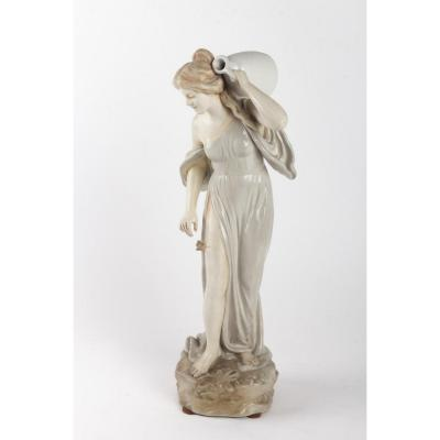 Bernard Bloch Sculpture Woman With Butterfly Signed Tschoop