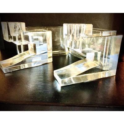 Surtout De Table En Cristal Art Deco Attribue A Wilberg Orme